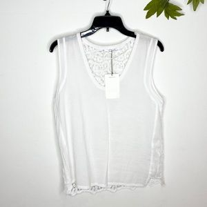Zara Semi-Sheer Lace Back Sleeveless Blouse NWT